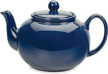 RSVP International Blue Large Stoneware 6-Cup Teapot