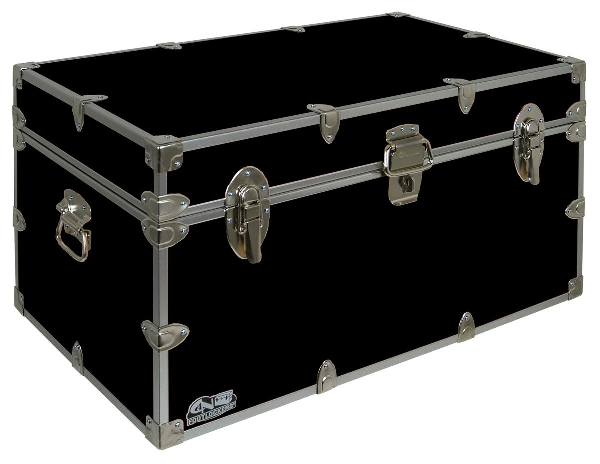 C&N Footlockers UnderGrad Storage Trunk - College Dorm Chest - Durable with Lid Stay - 32 x 18 x 16.5 Inches (Black) by C&N Footlockers