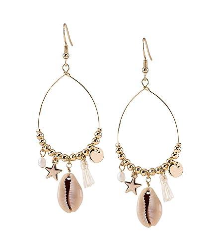 einzigartiger Stil begrenzter Preis Markenqualität SIX Damen Ohrringe, Ohrhänger, Perlen, Stern, Muschel ...