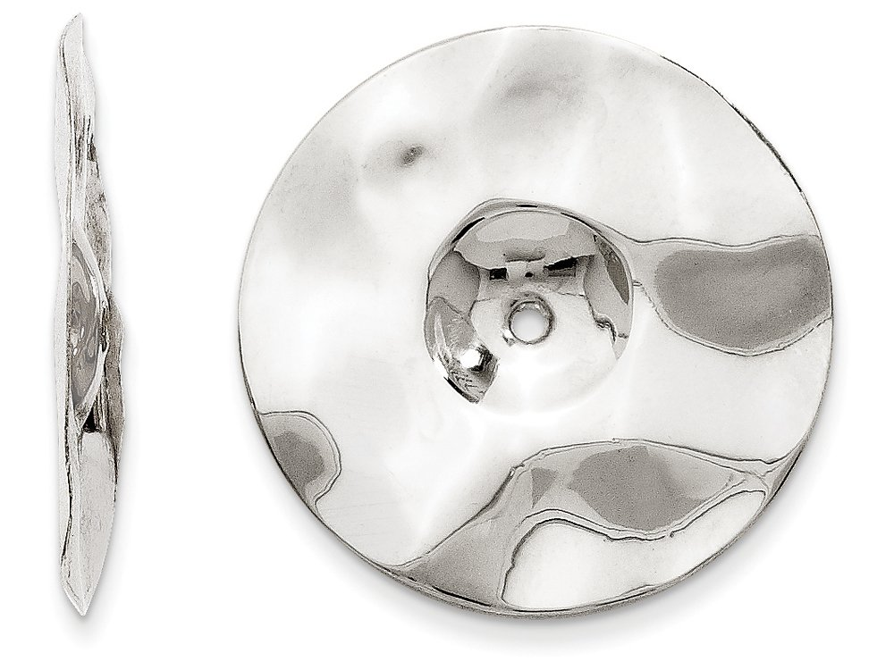 Finejewelers 14k White Gold Polished Hammered Disc Earring Jackets by FJC Finejewelers