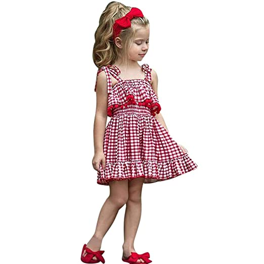 0025421d3fe Tronet Toddler Kids Baby Girls Condole Belt Tassel Plaid Skirt Princess Dresses  Clothes Red