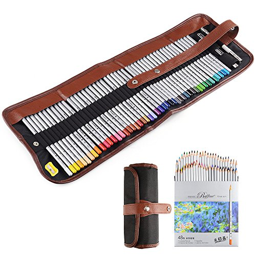 Marco Raffine Fine 48 Art Coloured Pencils +Eraser +pencil extender painting tools with Roll UP Canvas Pouch Bag for Coloring Books Drawing Writing Sketching Designs