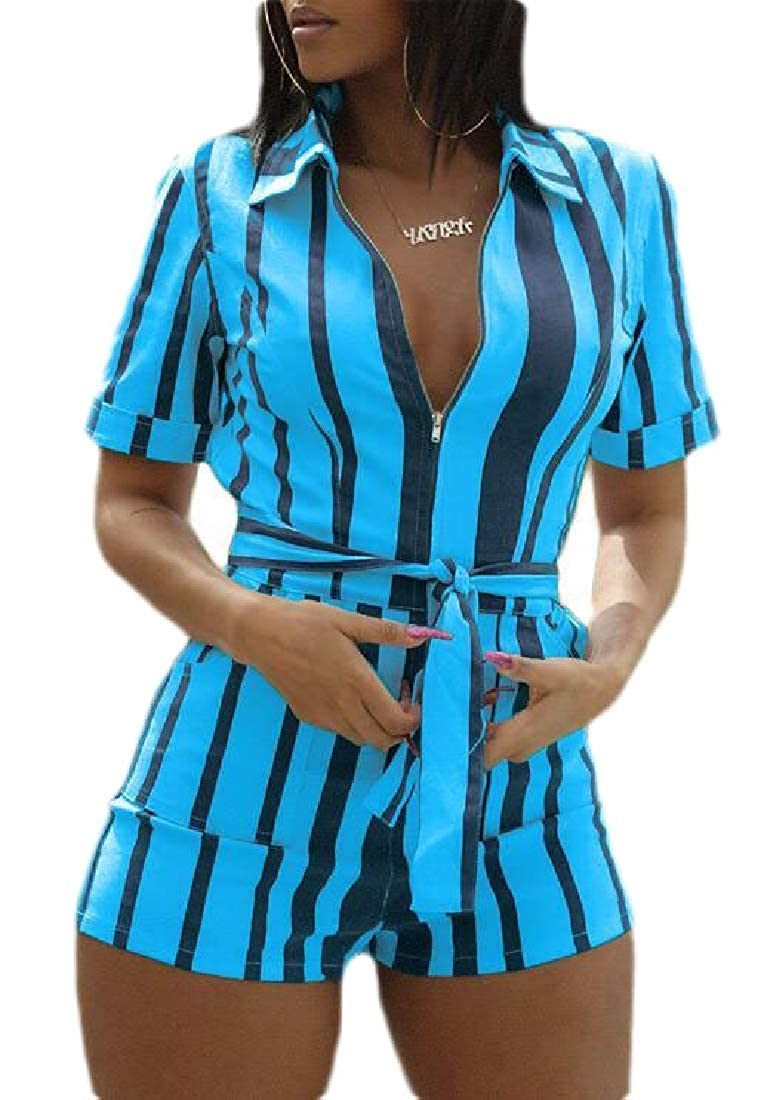 ZXFHZS Womens Summer V Neck Stripe Short Sleeve Shorts Jumpsuits Rompers Playsuits