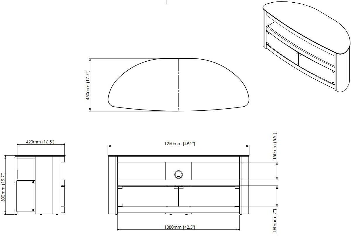 AVF 25614 Burghley FS1250 Walnut TV Stand