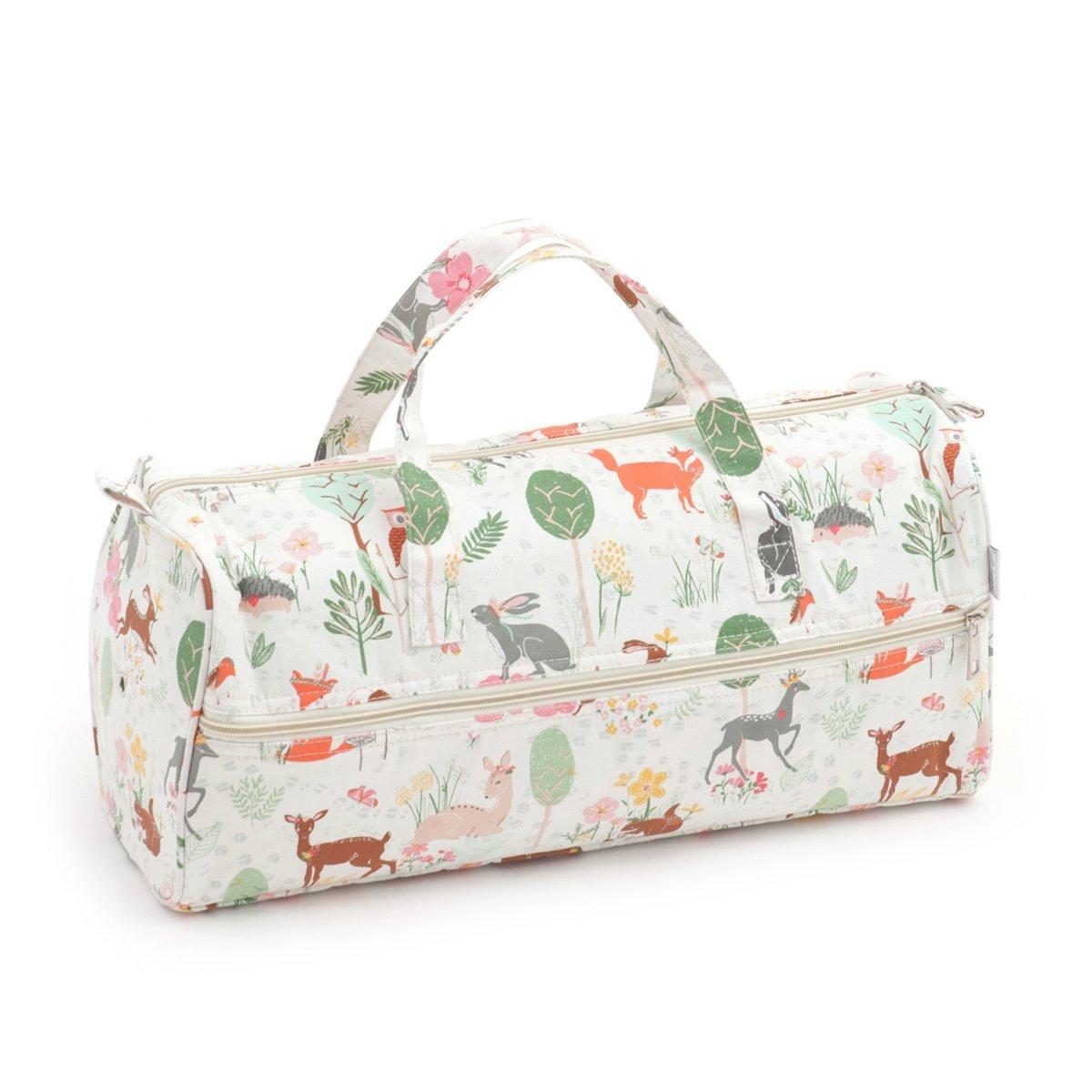 Matching Set - Knitting Bag (fabric handles) & Knitting Pin Soft Case - Woodland Hobbygift