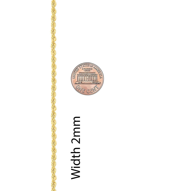 bd580b4e2662 Cadena de Oro 14K Amarillo o Oro Blanco macizo de 2mm Corte de diamante  Realmente Fuerte Cierre de garra de langosta para hombres o mujeres