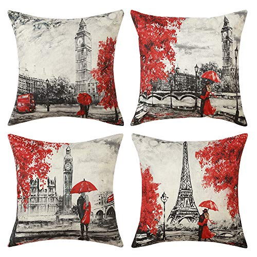 MIULEE Pack of 4 Valentine's Day Pillow Covers Paris Love Series Eiffel Tower Big Ben Pattern Throw Pillow Covers Decorative Square Couple Cushion Cases for Sofa Bedroom Car 18x18 - Paris Pillow