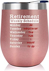 Retirement Gifts For Women 2021 - Retired Gifts For Women - Retirement Party Decorations - Fun Retirement Gifts For Women, Retired People, Coworkers, Friends - 12 Oz Wine Tumbler