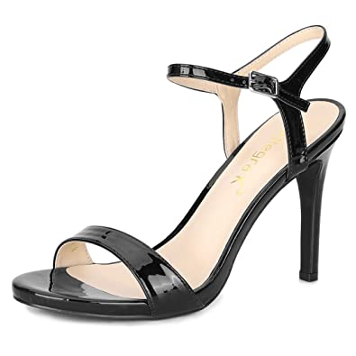 ff51e397cf Amazon.com   Allegra K Women's Open Toe Stiletto Heel Ankle Strap PU ...