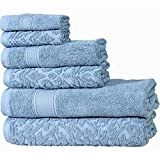 IntradeGlobal Luxury Soft Autumn Groove 6 Piece Cotton Towel Set with a Pair of Marble Cabinet Knobs, Forever Blue