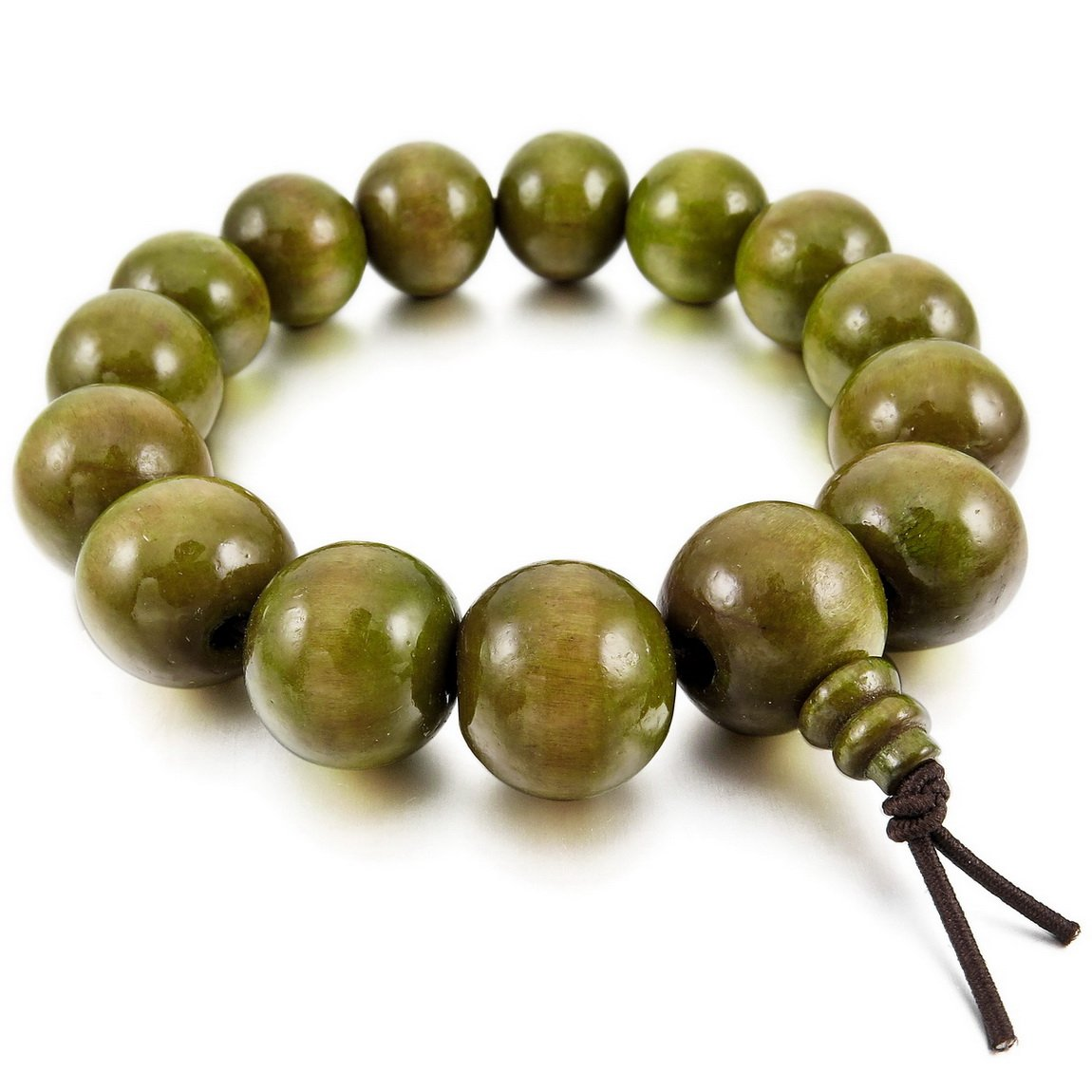 INBLUE Men,Women's 15mm Wood Bracelet Link Wrist Tibetan Buddhist Green Bead Prayer Buddha Mala Chinese knot Elastic