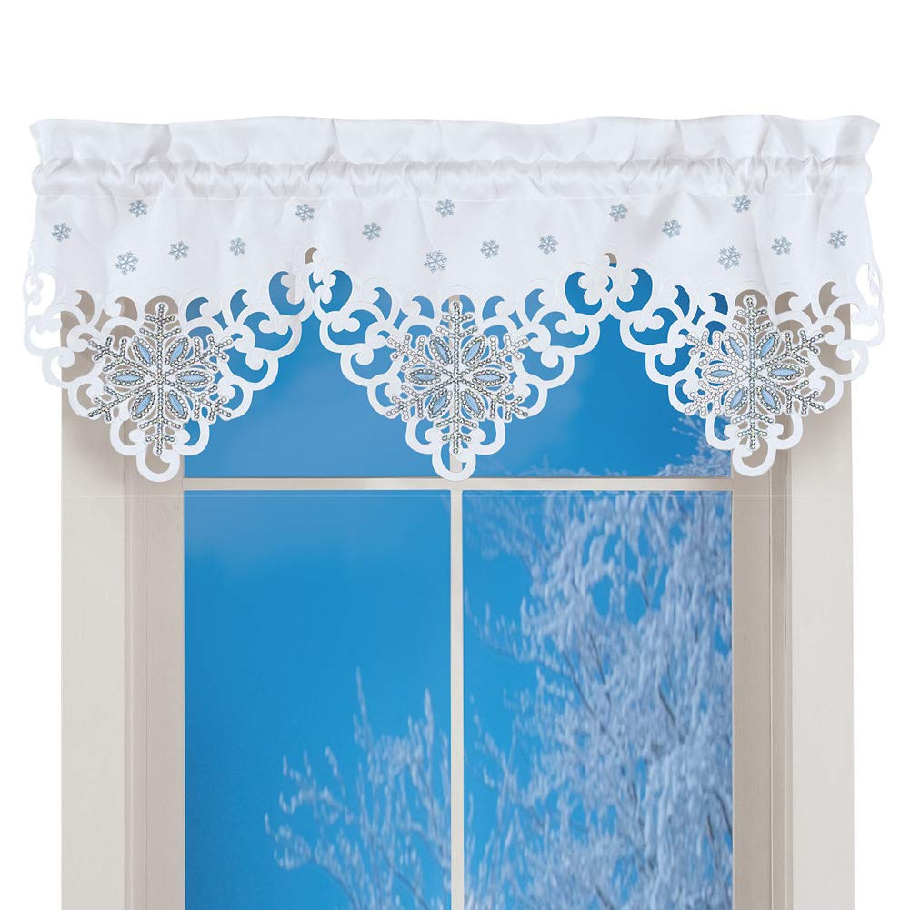 Amazon.com: Collections Etc Sequin Snowflakes Valance Curtain ...