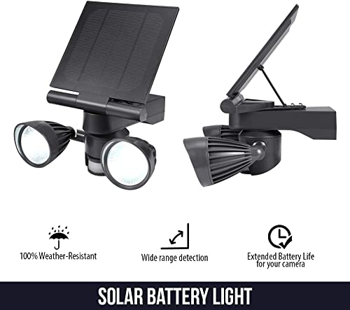 Wasserstein Floodlight Solar Panel Charger, Motion-Activated, Compatible with Stick Up Cam Spotlight Cam Only 1- Pack, Black