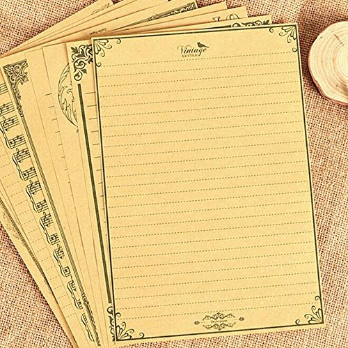 IMagicoo 60 Sheet Cute Vintage Retro Lovely Design Writing Stationery Paper Letter Set (khaki-1)