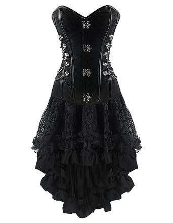 Gothic Burvogue Korsett Kleid Spitzen Kostüm Damen Steampunk GqSVMpUz