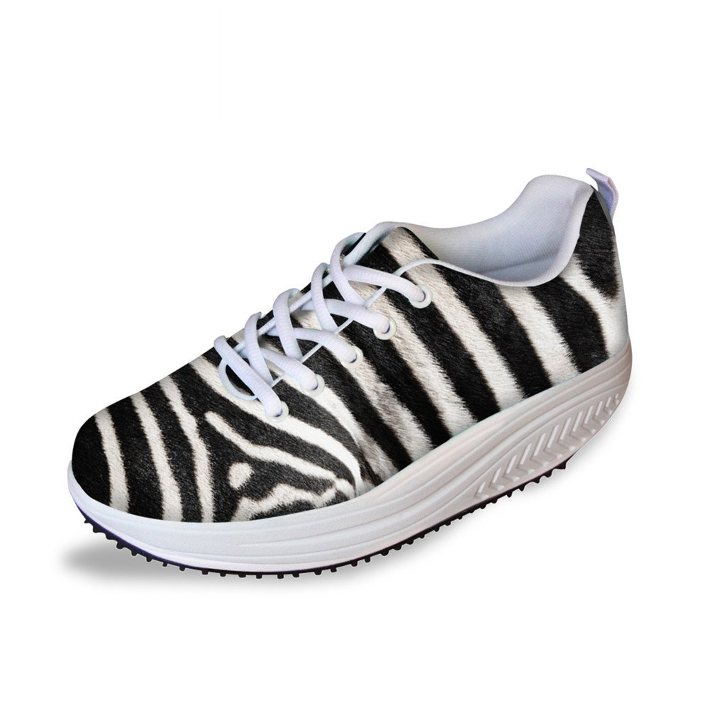 FOR U DESIGNS Womens Stripe Comfort Wedge Platform Shoes Breathable Sneaker US 11