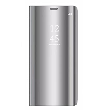 Tianyan Funda para Samsung Galaxy A6 Plus,Espejo Clear View Flip Cover Carcasa Plegable Soporte,Funda para Samsung Galaxy A6 Plus 2018,Blateado