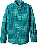 ARIAT Boys' Big Classic Fit Long Sleeve Button Down Shirt, Vavrick Pappagallo Teal, MED
