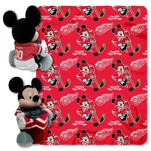 Officially Licensed NHL Detroit Red Wings ''Ice Warriors'' Co-Branded Disney's Mickey Mouse Hugger and Fleece Throw Blanket Set, 40'' x 50'', Multi Color by The Northwest Company