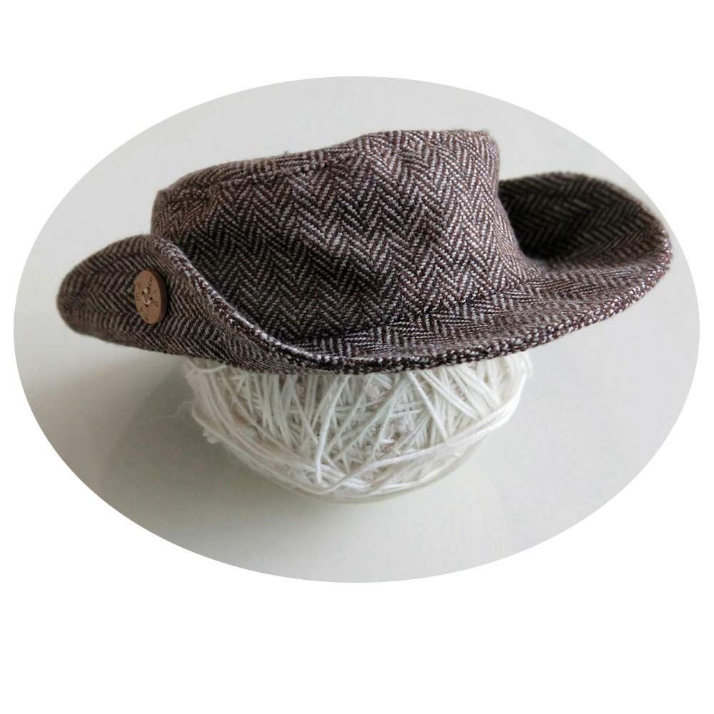 Infant Baby Photo Props Crochet Romper Newborn Photography Caps Set Cool Monthly Boys Knitted Berets Hat Outfits Clothes 3pc Brown by Newborn Costumes Set (Image #4)