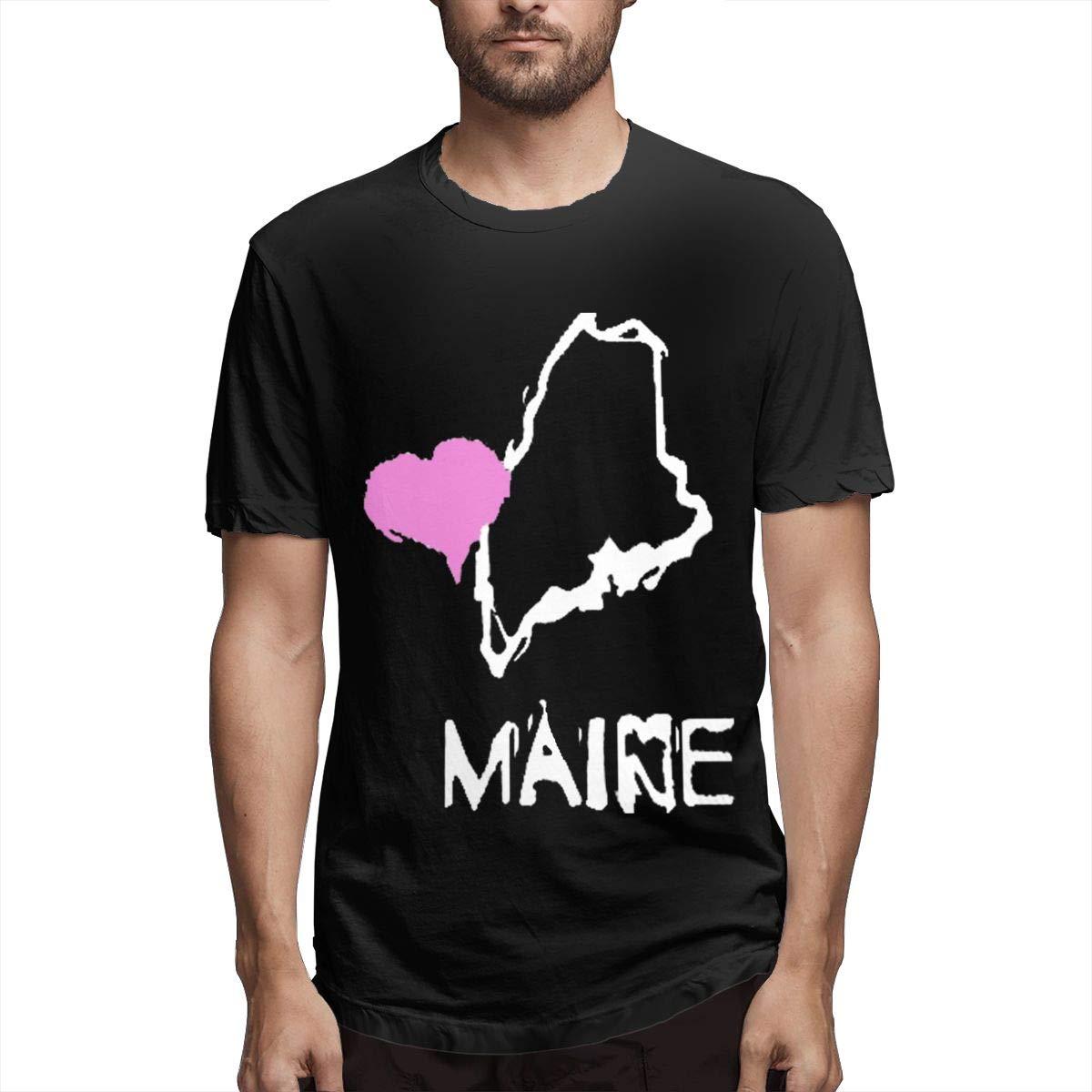 Marsherun Mens Love Maine State-1 Comfortable Short Sleeve T-Shirt