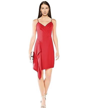 87452b3938 BCBG Max Azria Womens Cornelia Pleated Cascade Ruffle Cocktail Dress Red 0