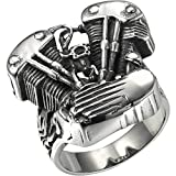 HooAMI Men's Stainless Steel Motorcycle Engine Biker Ring Black Silver,Size 13