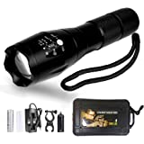 Torche Lampe de Poche LED Rechargeable et Etanche avec Zoom Réglable, Taille Compact Super Lumineux 1200 Lumen avec 5 Modes d'illumination Réglable, Pile Rechargeable et Fixation Vélo Inclus (Noir)