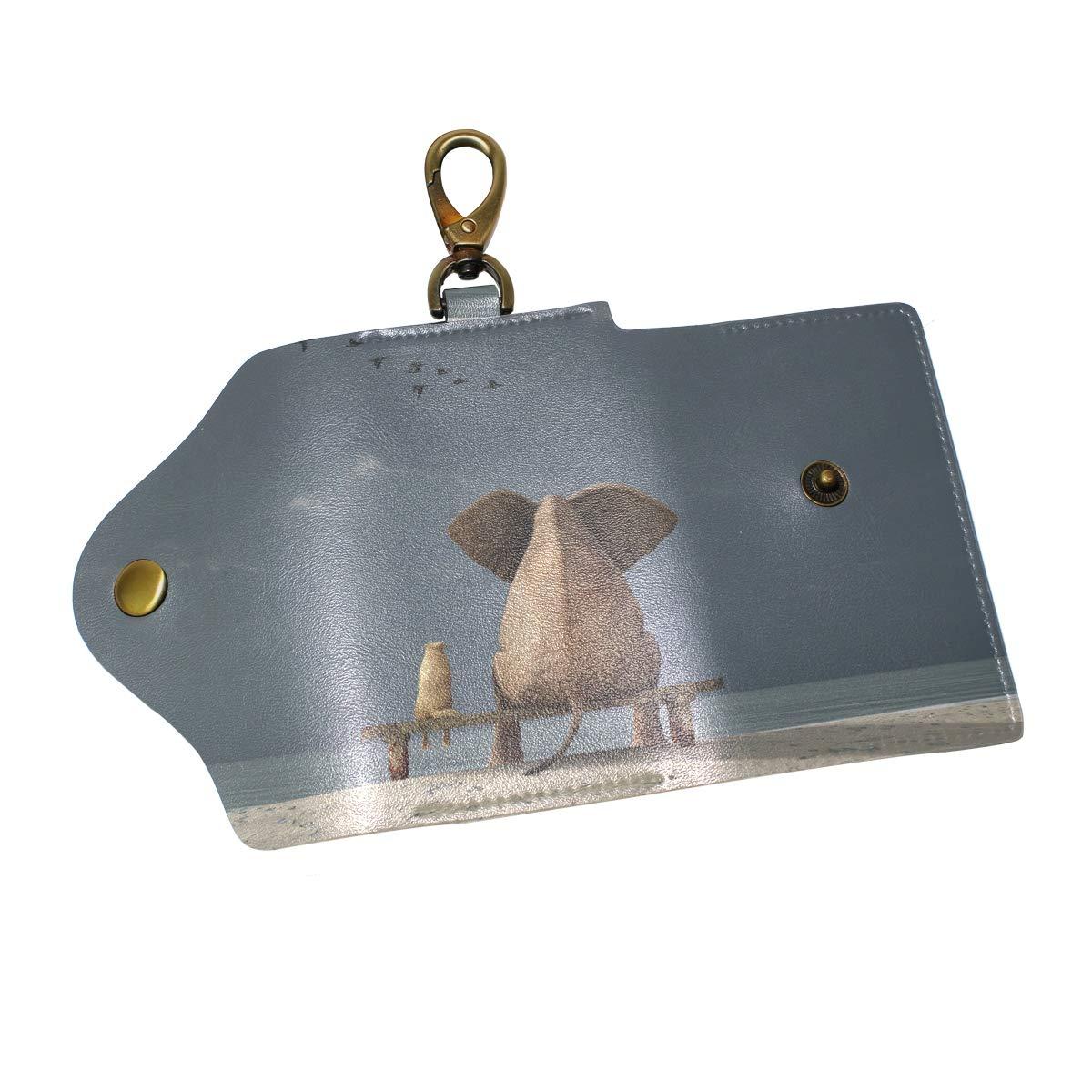KEAKIA Elephant Leather Key Case Wallets Tri-fold Key Holder Keychains with 6 Hooks 2 Slot Snap Closure for Men Women