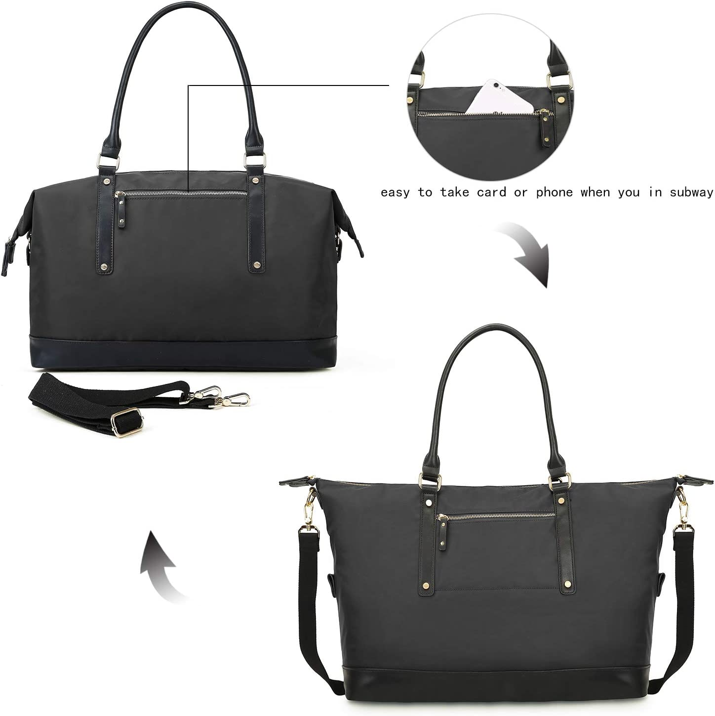 Overnight Holdall Travel Bag Tote Bag Black Cabin Carry On Bag for Women Features Deluxe YKK Zipper Premium Nylon Bag for Ladies Impero Viale Womens Weekend Bag