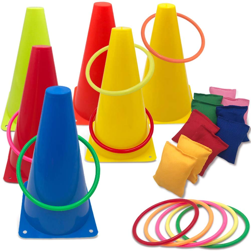 Hokic 3 in 1 Carnival Games Set, Soft Plastic Cones Set Bean Bag Ring Toss Games for Kids Birthday Carnival Party Outdoor Games Supplies by Hokic