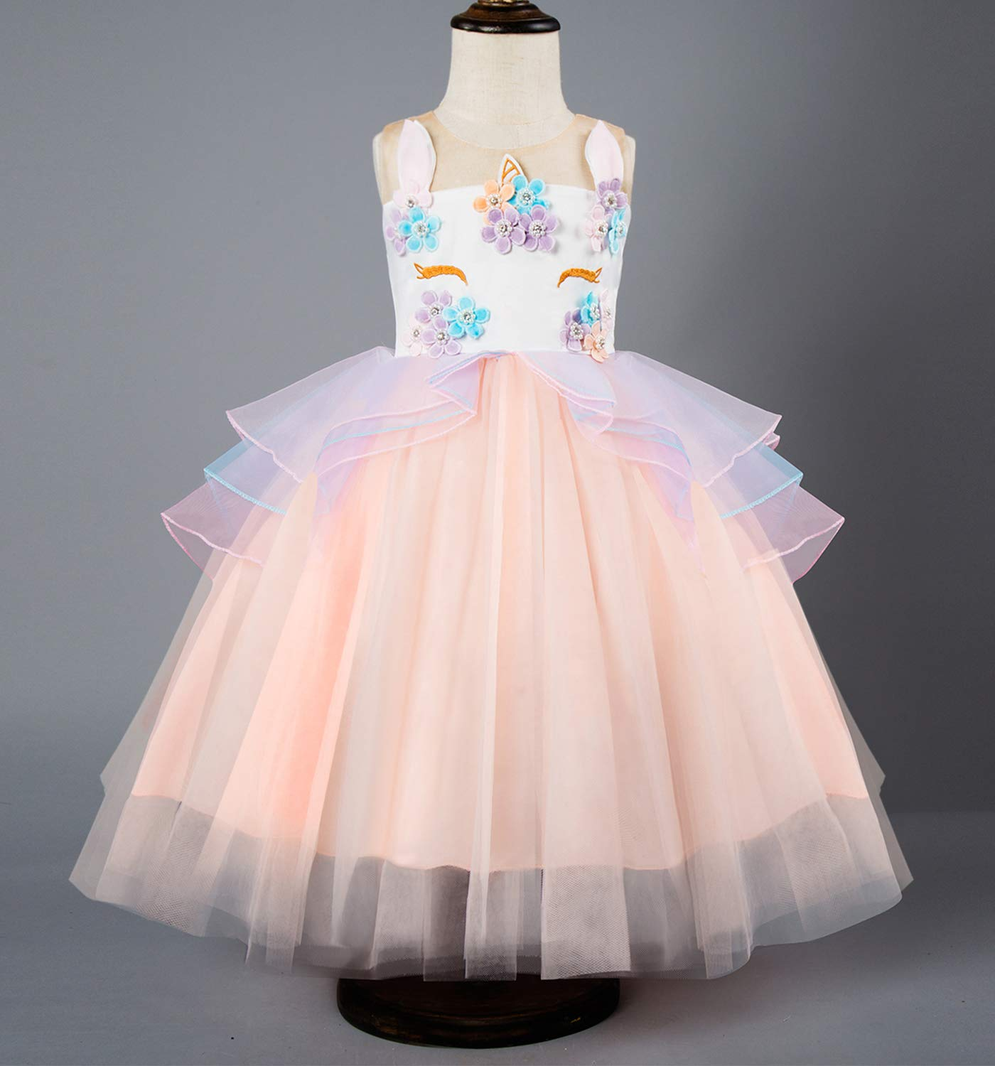 TTYAOVO Kids Unicorn Costume Dress Girl Princess Flower Pageant Party Tutu Dresses Size 5-6 Years Pink by TTYAOVO (Image #2)
