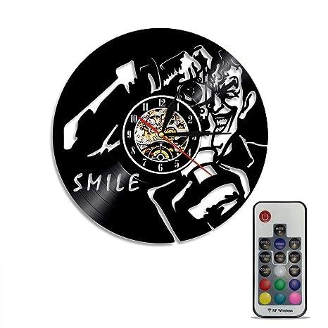 Grabado A Mano Disco De Vinilo Disco Reloj De Pared Joker Smile Con Control Remoto Hacer