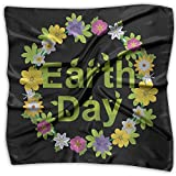 National Earth Day Floral Women's Fashion Print Square Scarf Neckerchief Headdress S