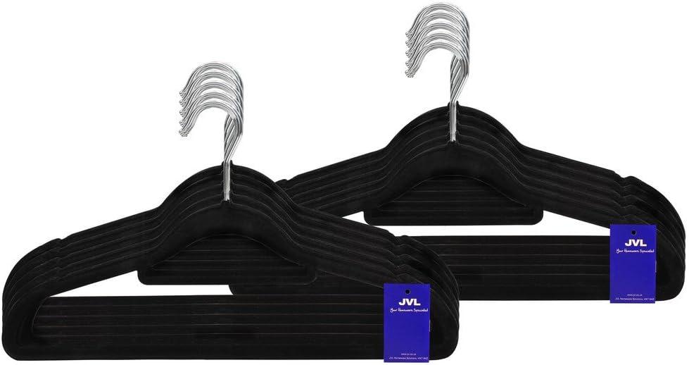 /Simple Touch de Terciopelo Gama Ahorro de Espacio Antideslizante Perchas 100/Unidades Negro pl/ástico ABS Reciclado Zinc 41,5/x 0,5/x 22,5/cm JVL/ Nailon