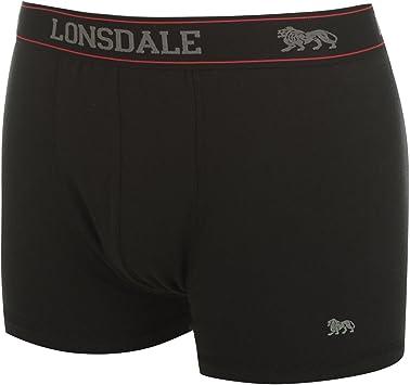 Lote de 2 Boxer Calzoncillos Ropa Interior Lonsdale para Hombre Negro