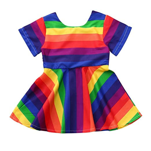 c190dcef5274c Toddler Baby Girls Clothes Sets for 6 Months-4T, Onesies Short Sleeve  Rainbow Stripe Skirt Princess Dress Outfits