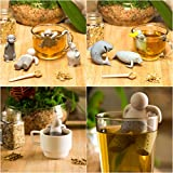 Tilevo Tea Infuser Set of 7 - The Cute Loose Leaf Silicone Tea Steeper Ball Strainer Diffuser with Gift Box - Includes Man & Animal Sloth Shark Monkey Platypus Manatee and Elephant