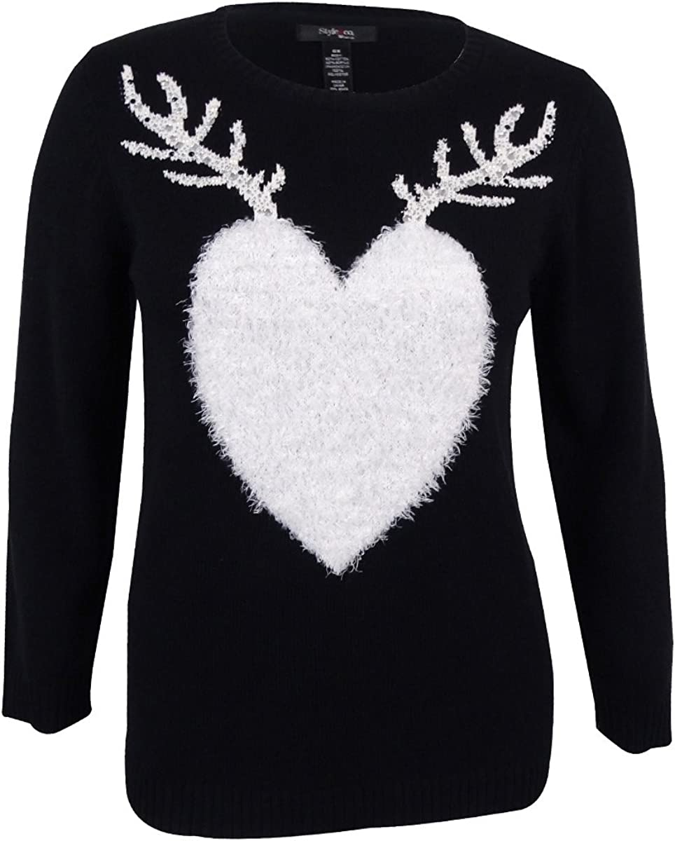 Style & Co. Women's Plus Size Knit Reindeer Print Sweater