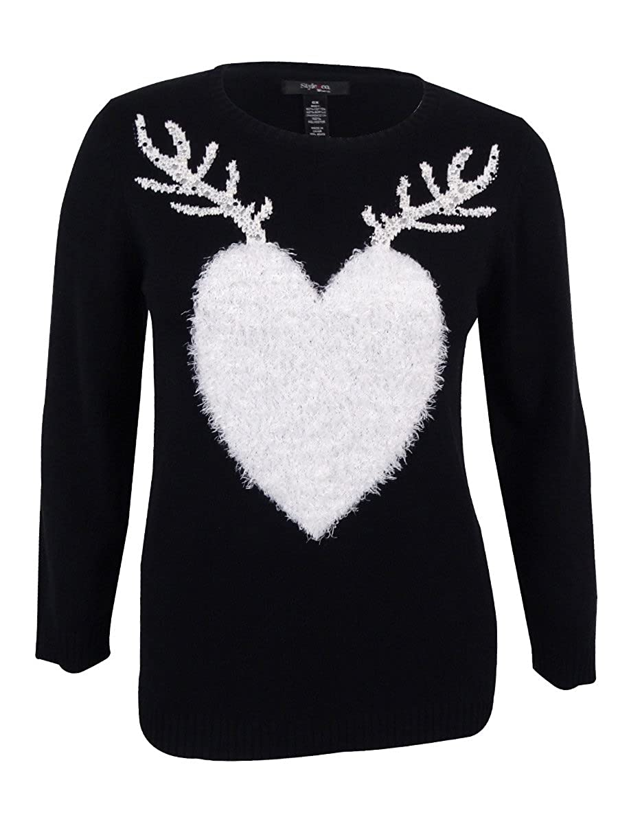 Style & Co. Womens Knit Embellished Sweater