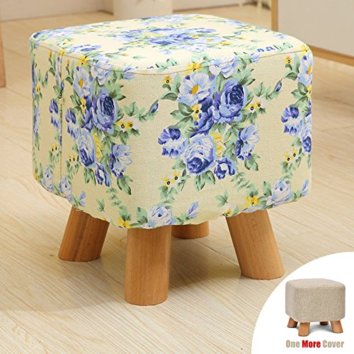 Sino Banyan Feet Stool/Ottomanwith 1 More Cover,Soft Quick Detachable Cushion,Joker Pattern,Blue Flower & Beige