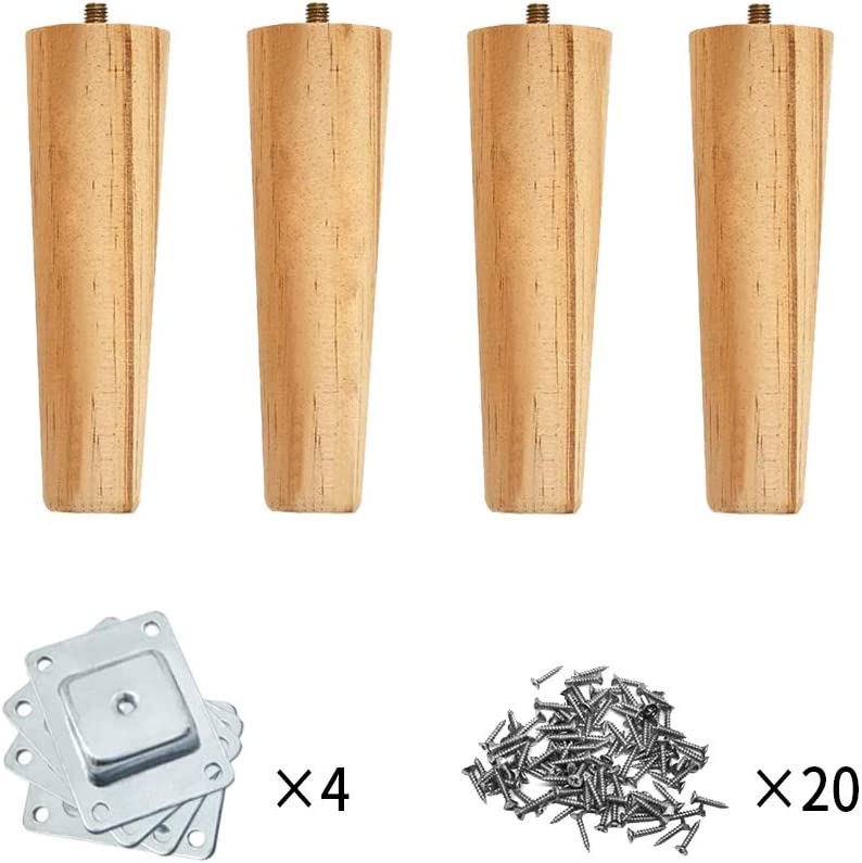 TUKAILAI 4PCS Solid Beech Wood Furniture Legs 15cm Cabinets Feet Table Legs Replacement Furniture Feet for Couch//Lounge//Chair//Desk//Cabinet Leg Standing Feet