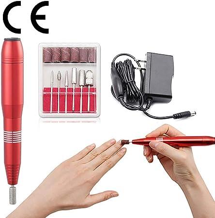 Taladro portátil del Clavo Kit de manicura eléctrica Removedor uñas acrílico Máquina limado uñas, Herramientas Pulido, Kit de pedicura (Rojo): Amazon.es: Hogar