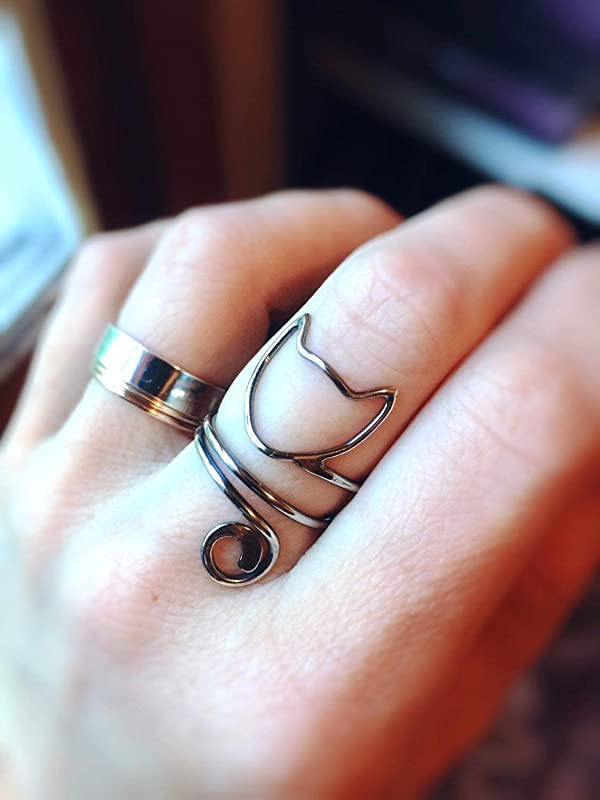 Adjustable cat ring with cat/'s head and tail. Sterling ring Handmade cat animal jewelry