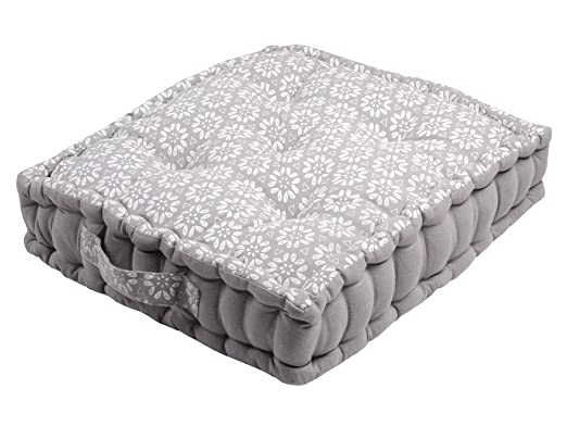 Cojín de suelo 45 x 45 x 10 cm Jane gris 100% algodón ...