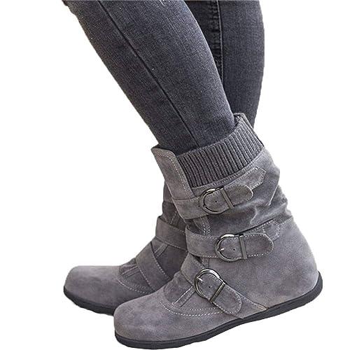6d184d18e26c8 JOYTO Bottes Fourrees Femmes Plate Hiver Daim Cuir Neige Compensé Bottine  Cheville Chaude Winter Ankle Boots