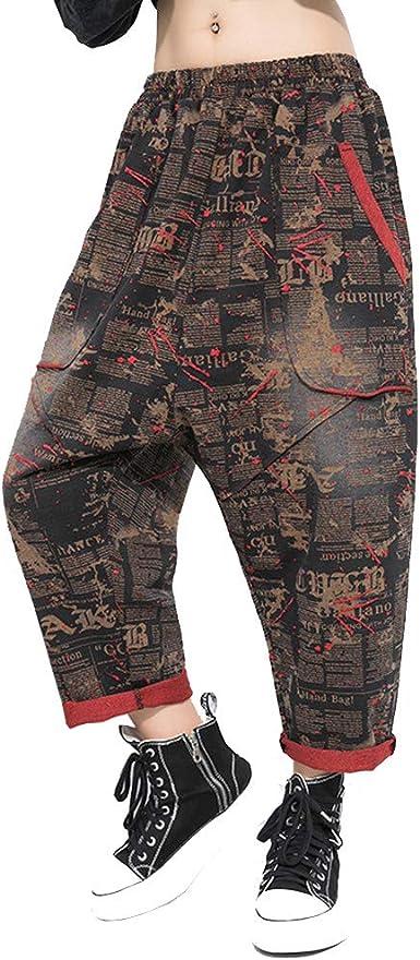 BaronHong Pantalones Cortos de algodón Mujer Pantalones Holgados Holgados con Entrepierna Baja Hippie con Bolsillos (Negro, M): Amazon.es: Ropa y accesorios