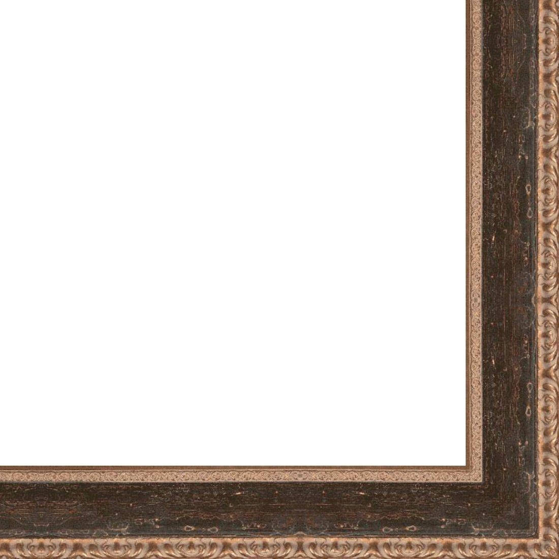Picture Frame Moulding (Wood) 18ft bundle - Distressed/Aged Black Finish - 2.75'' width - 7/16'' rabbet depth