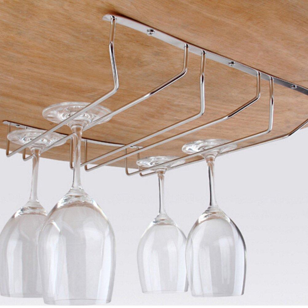 BESTIM INCUK Under Cabinet Wine Glass Rack Stemware Holder for Home Bar with Screws, Chrome (1 Row)