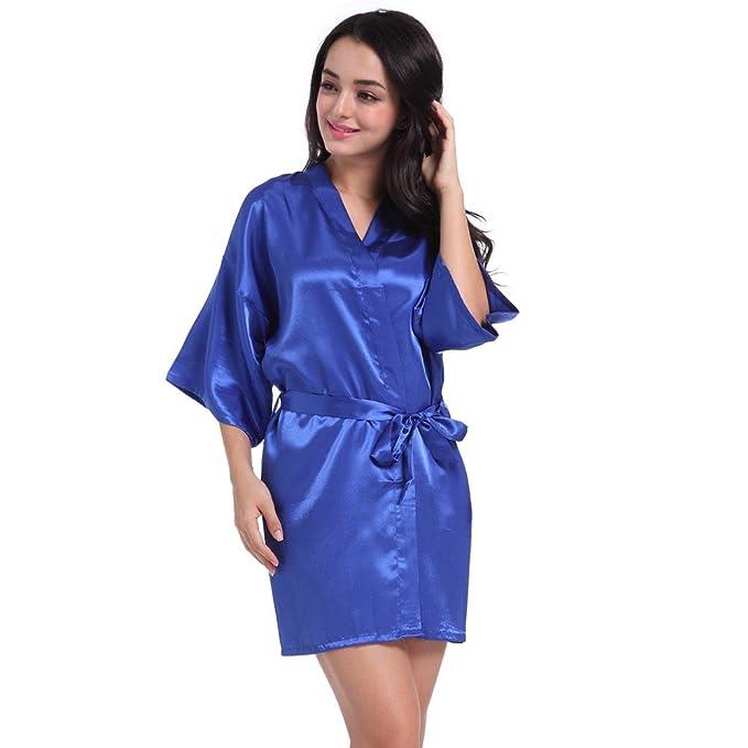 Kimono Mujer Batas Mujer Saten Mujer Camisones Satin Pijamas Manga Larga Elegante Ropa De Dorm CamisóN